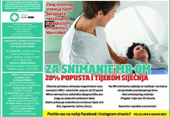20% POPUSTA I TJEKOM SIJEČNJA ZA SNIMANJE MR-OM