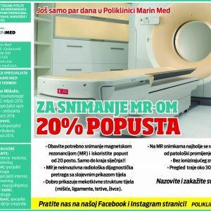 Još samo par dana 20% popusta za snimanje MR-om!