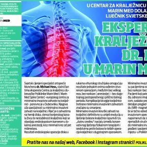 Ekspert za kralježnicu Dr. Hess u Marin Med-u.
