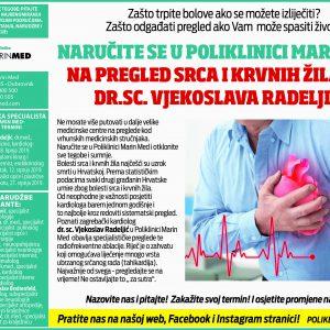 Naručite se u Poliklinici Marin Med na pregled srca i krvnih žila kod Dr.sc. Vjekoslava Radeljića